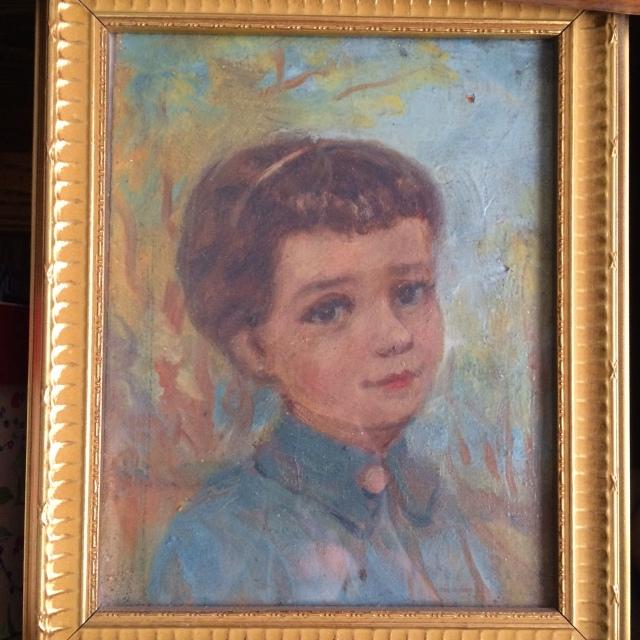 Cuadro en óleo por José Romo. Aquí debo haber tenido unos seis años (1958).